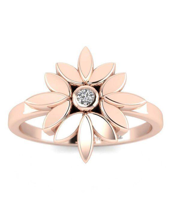 600d035718 14K Natural Diamond Rose Gold Promise Ring - Dainty Flower ...