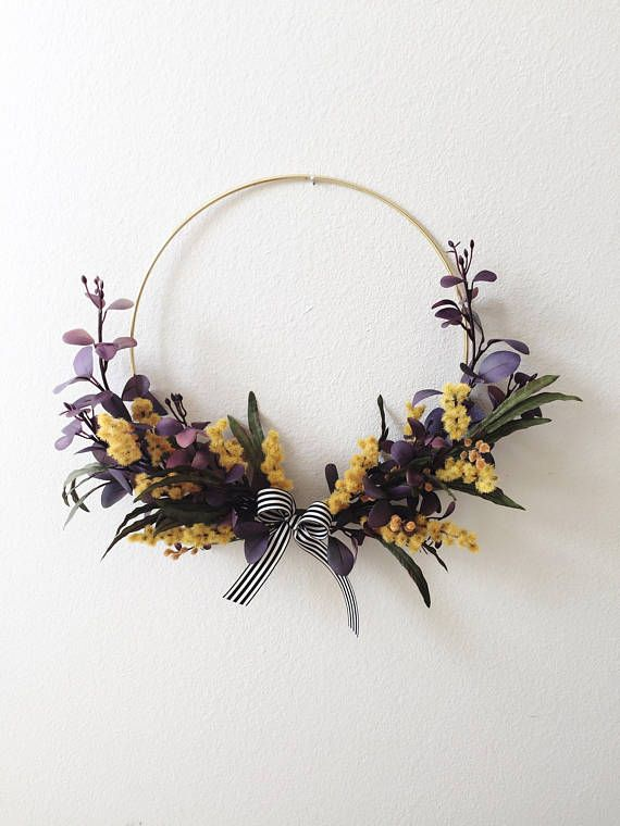 Photo of Floral Modern Wreath, Hoop Wreath, Wall Art, Faux Silk Flower Wreath, Wall Hanging, Minimalist Wreath, Wedding Hoops Decor, New Home Gift