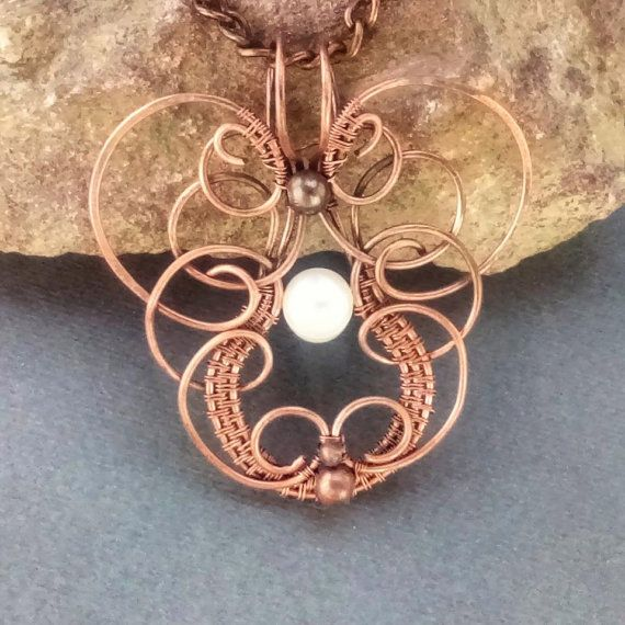 Copper Jewelry Set Copper Wire Wrapped by MadeByMyLeftHand on Etsy