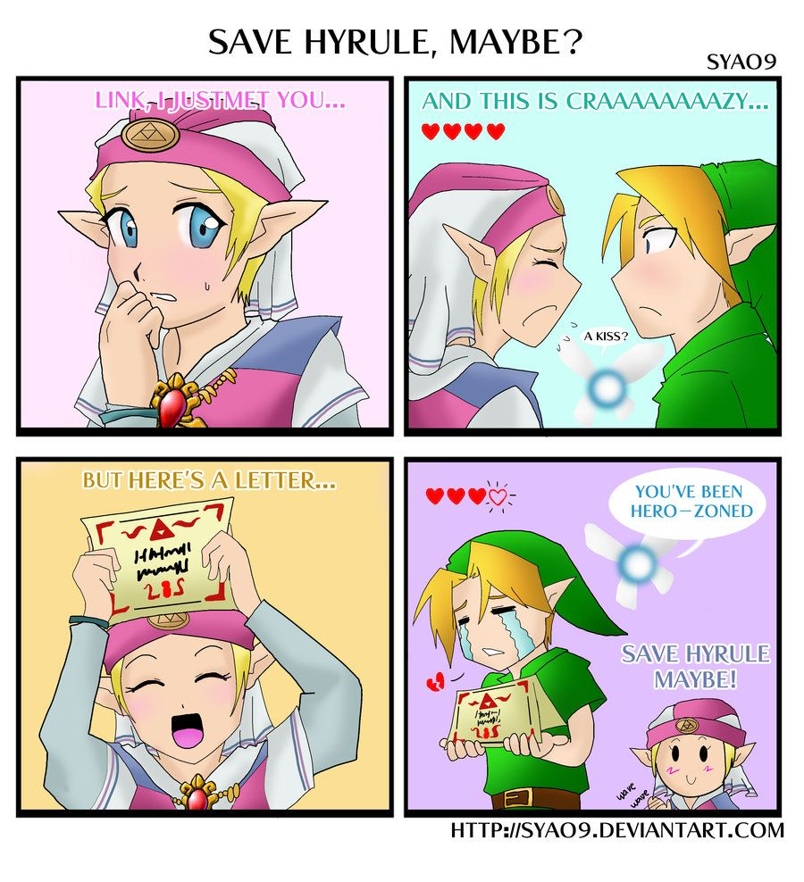 Cute, and accurate. I think only people who have played that game will get the letter part. - Link and Zelda comic.