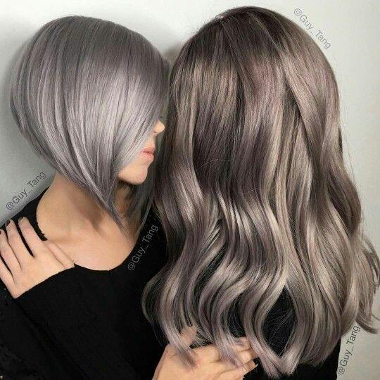 e2d511c2d Love the mink grey on the right   Beauty   Metallic hair color, Hair ...