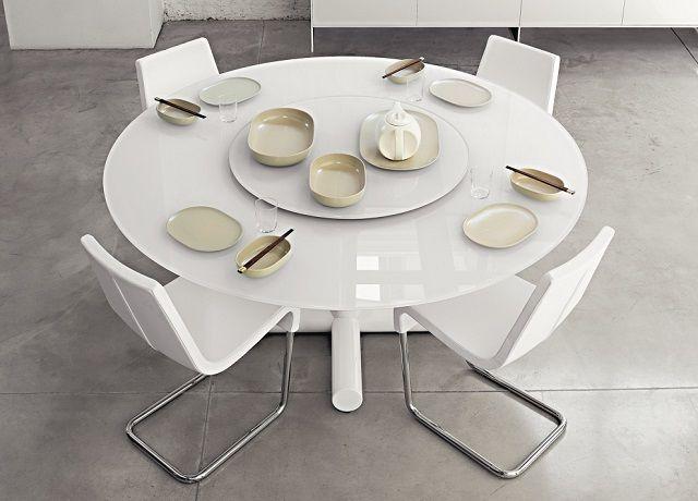 Tavolo Moderno Rotondo.Tavolo Da Pranzo Bianco Laccato Moderno Per Sala Da Pranzo