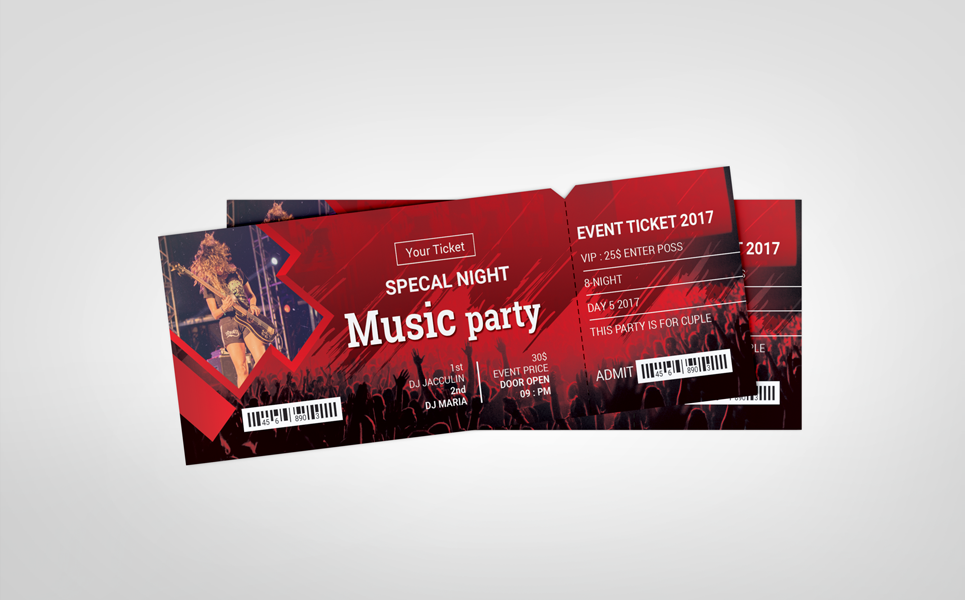 Music Party Event Ticket Vip Pass Corporate Identity Template Music Party Party Event Ticket Design