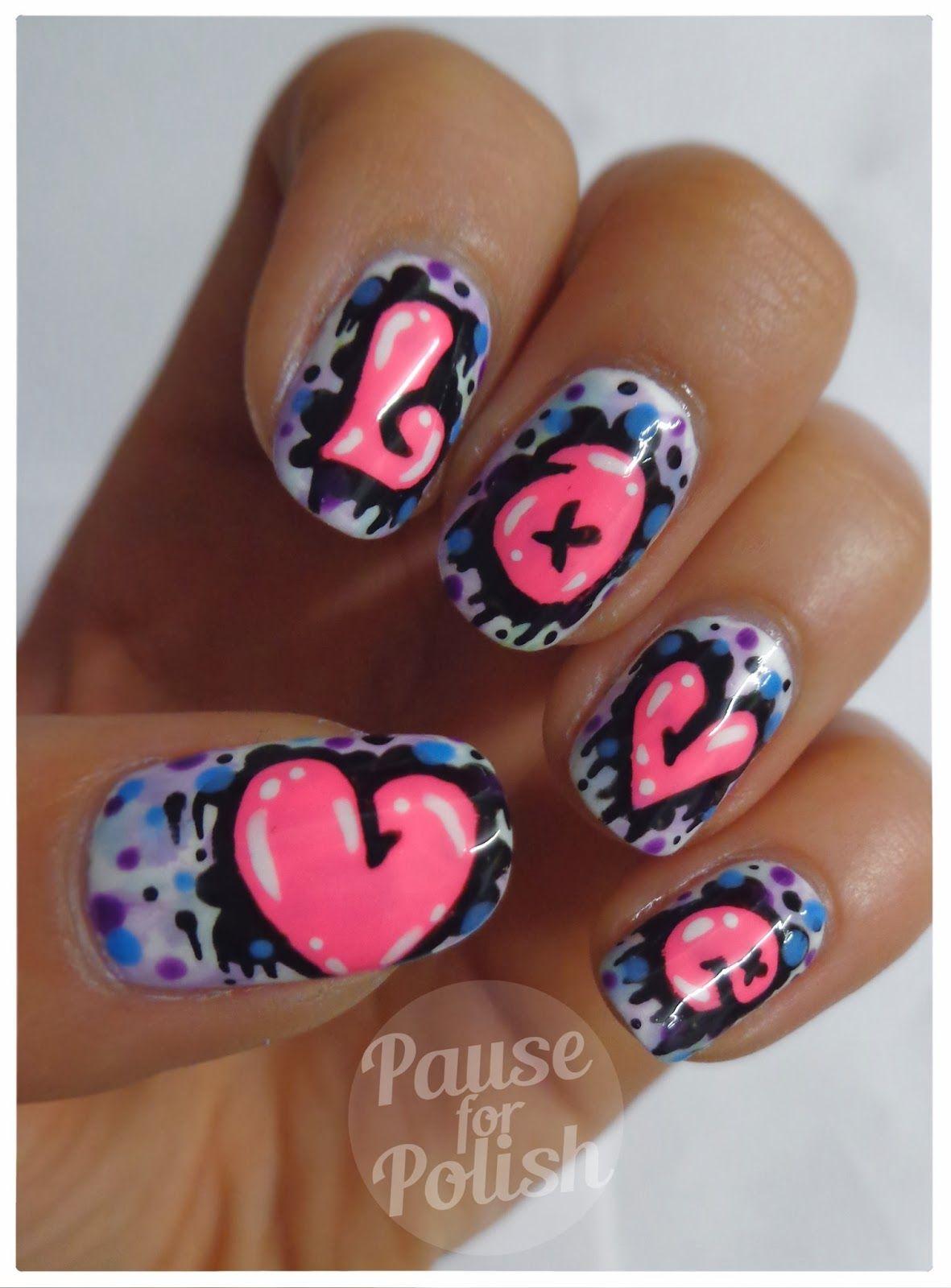Pause For Polish Love Graffiti Neon Nail Art Nails Pinterest
