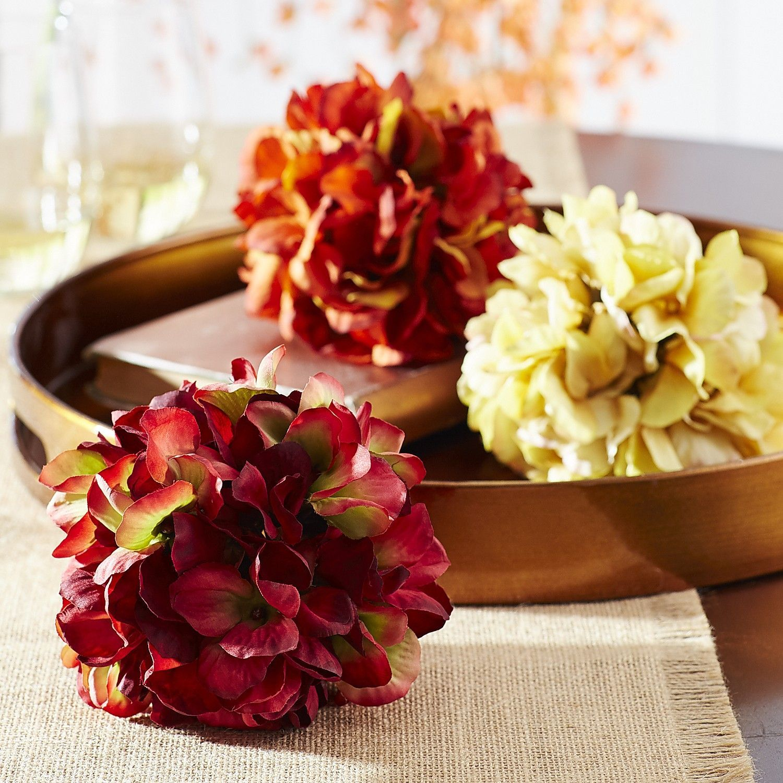 Multi-colored Fall Hydrangea Sphere Set - Polyester   *Flower ...