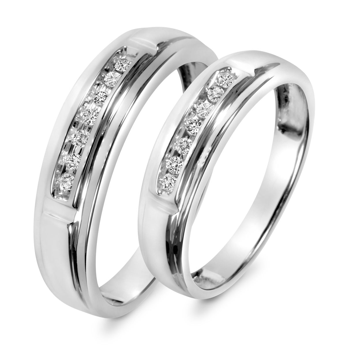1 8 Carat T W Diamond His And Hers Matching Ringswedding