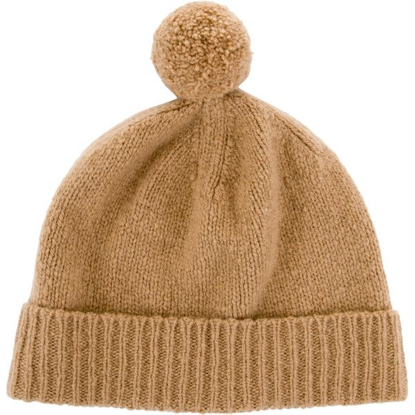3e9bf8dd213 Pre-owned Burberry Camel Cashmere Beanie ( 95) ❤ liked on Polyvore  featuring accessories