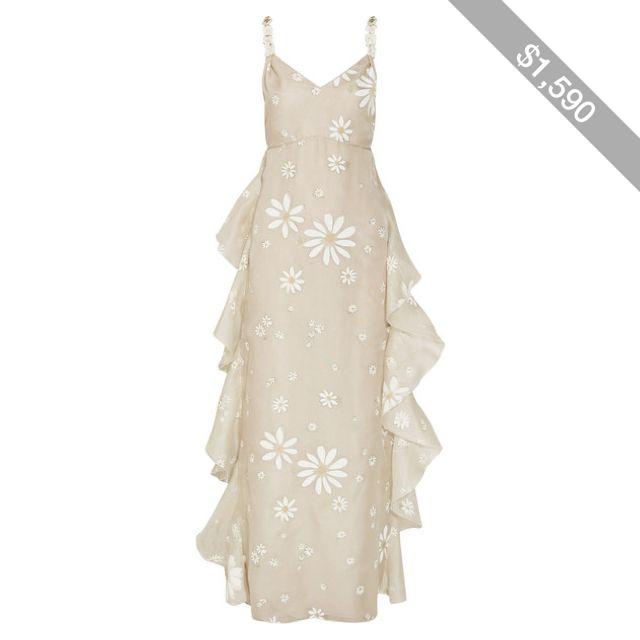 Valentino Daisy-print silk gown