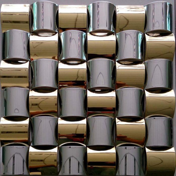 3D Konvexen Design Goldene Mixed Silber Edelstahl Metall Mosaik Fliesen Für Küche  Backsplash Fliesen Veranda Wohnzimmer Fliesen(China (Mainland))