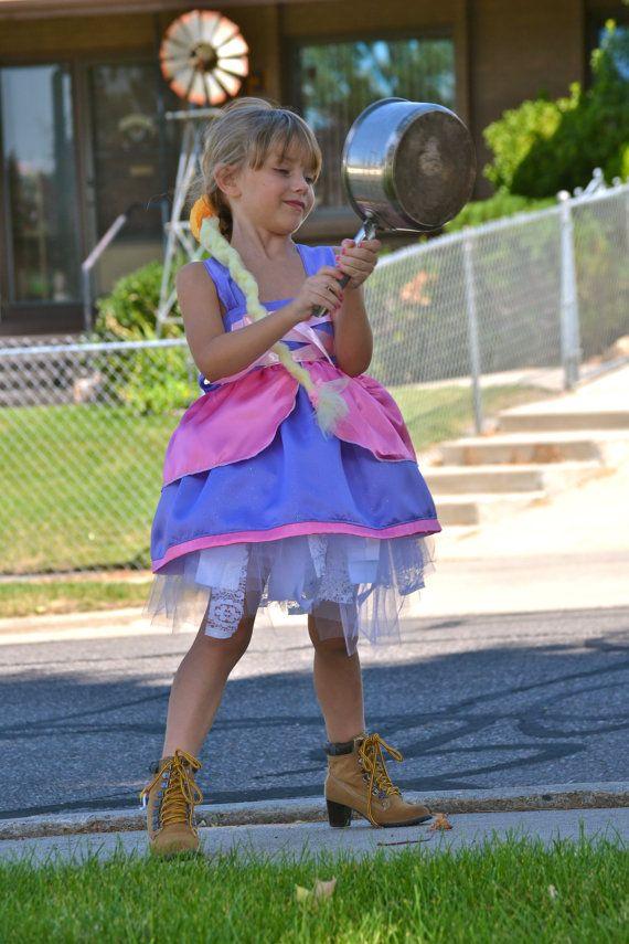 Apron Costume Repuzel Halloween Girls sizes 6m by SweetPeaBlossoms, $26.00