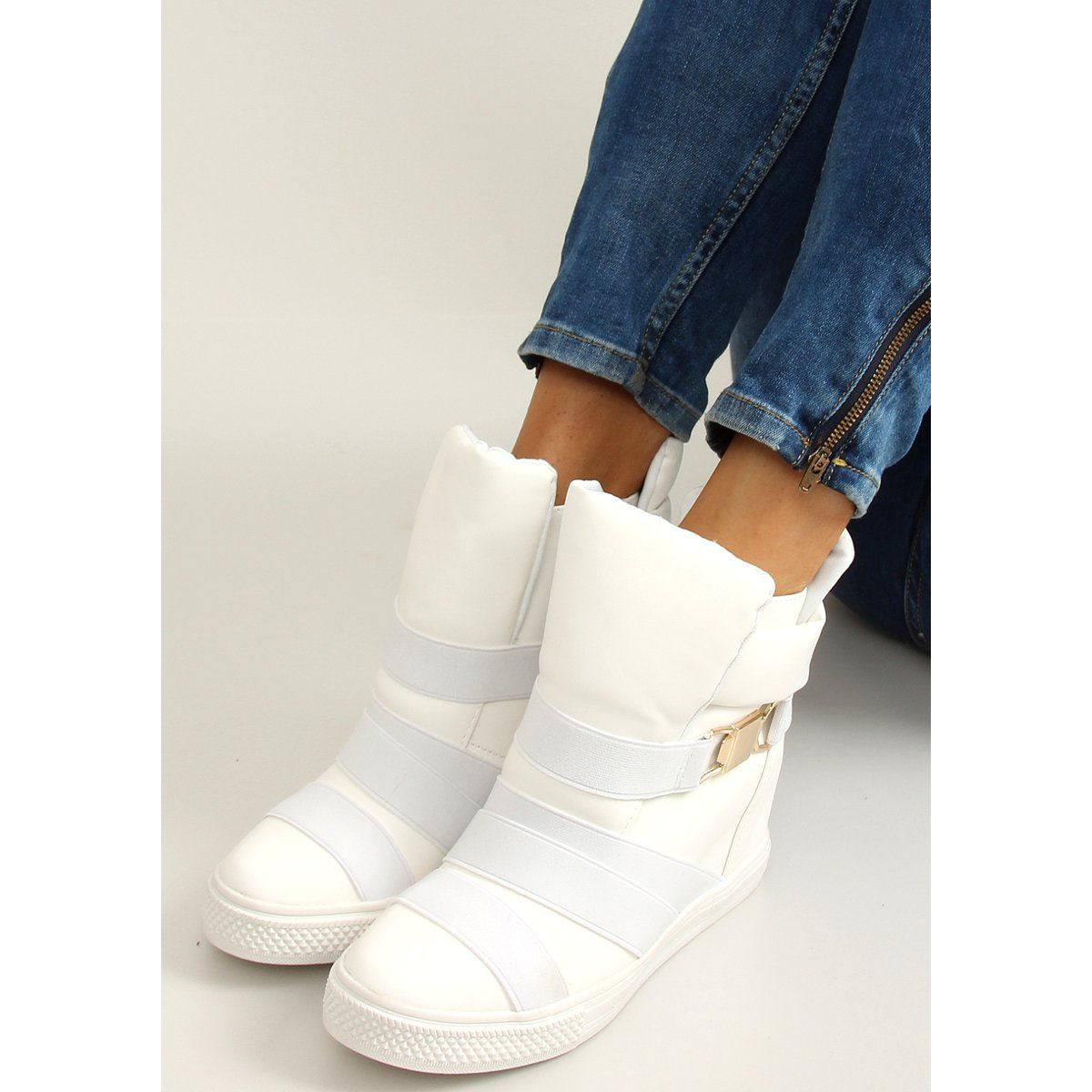 Sneakersy Z Gumowymi Paskami Af24 White Biale Sneakers Stylish Sneakers Sports Women