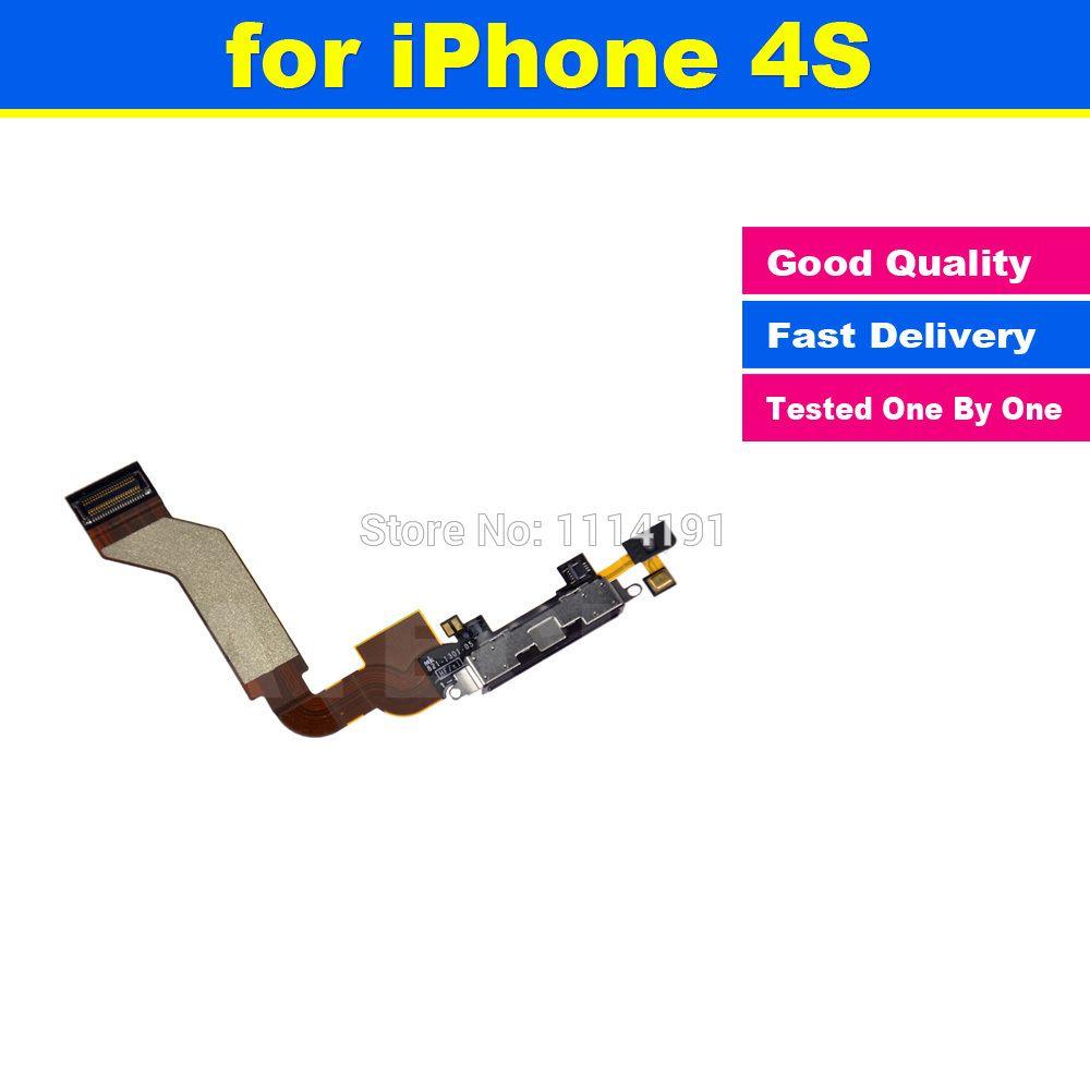 Nieuwe hoge kwaliteit zwart of wit charger charging dock port connector flex datakabel vervanging voor iphone 4 s