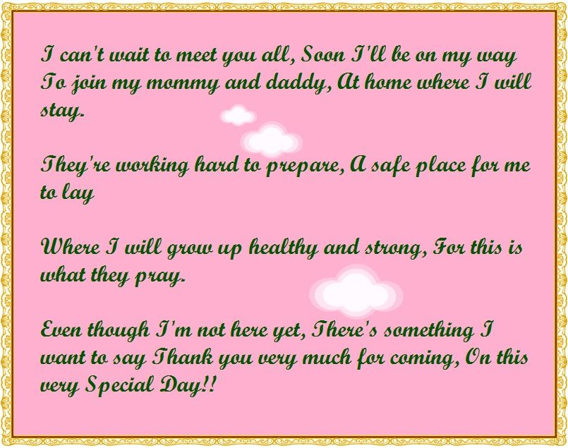Baby Shower Thank You Poems from Unborn Baby | Baby shower ...