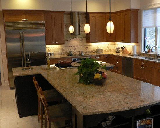 An Oddly Shaped Kitchen Island: T-shape Kitchen Island Design, Pictures, Remodel, Decor