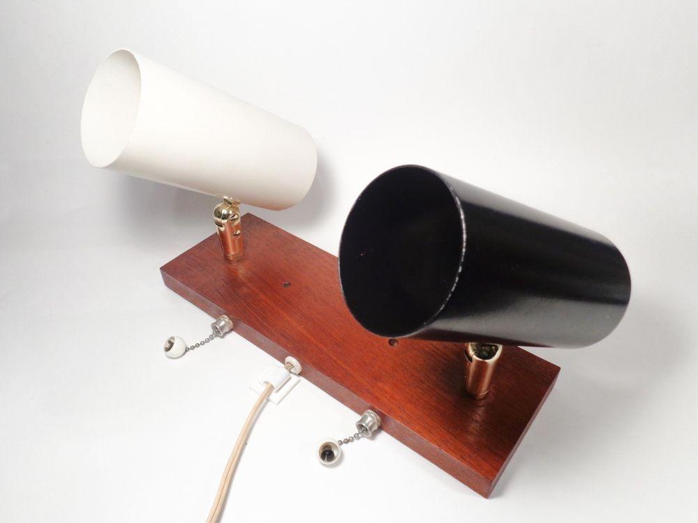 Mid-Century Modern Teak & Double Cylindrical Enamel Wall Sconce Black & White