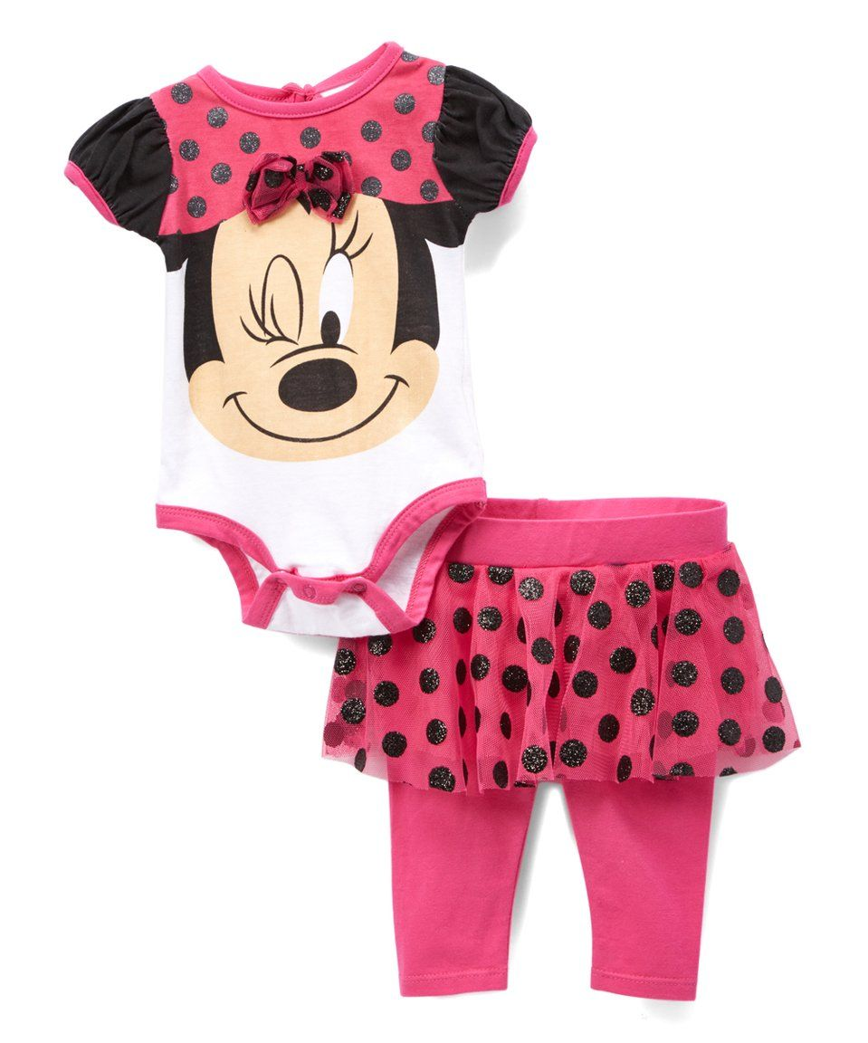9975c95dc4e52 Take a look at this Minnie Mouse Pink & Black Dot Bodysuit ...