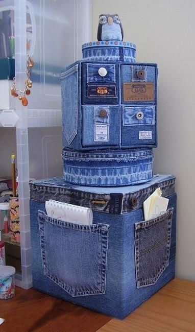 Recycled Crafts Turning Jeans and Labels into Unique Home Furnishings #recycledcrafts