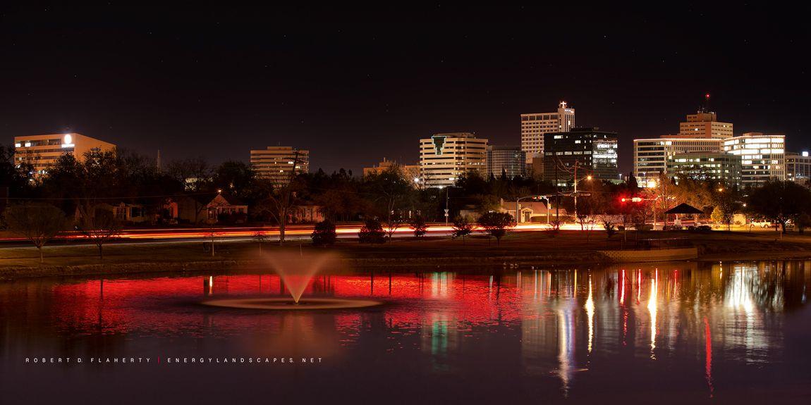 Midland Texas Night Red Skyline Permian Basin Oil Energy Midland Texas Midland Most Beautiful Cities