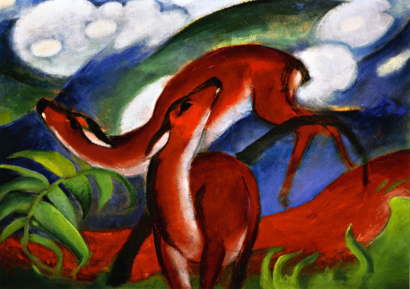 Franz Marc The Red Deer Ii 1912 Animal Paintings Deer Art Print Franz Marc