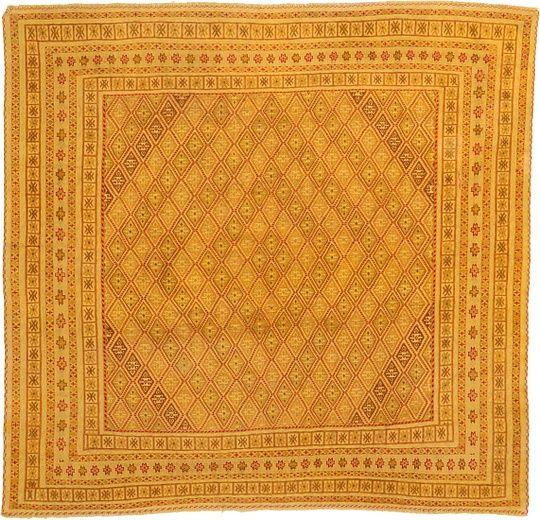 Gold 6 X 10 Kilim Afghan Square Rug