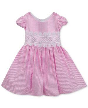 512606291 Rare Editions Striped Seersucker Dress, Baby Girls (0-24 months) - Pink 3-6  months