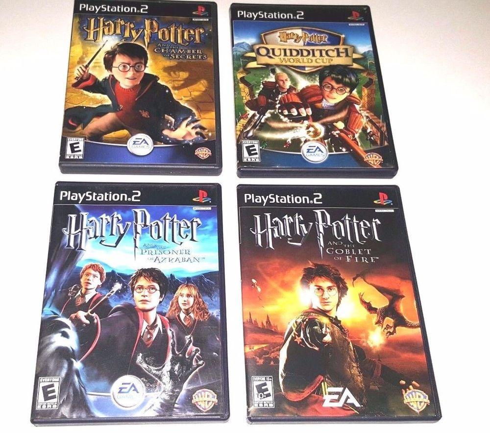 4 Ps2 Harry Potter Lot Chamber Secrets Quidditch World Cup Azkaban Goblet Fire Quidditch Azkaban Harry Potter