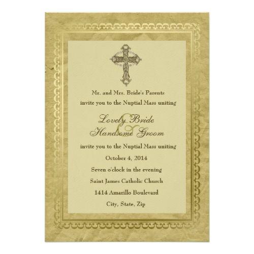 catholic wedding invitation vintage catholic cross wedding invitation green 1 - Catholic Wedding Invitations