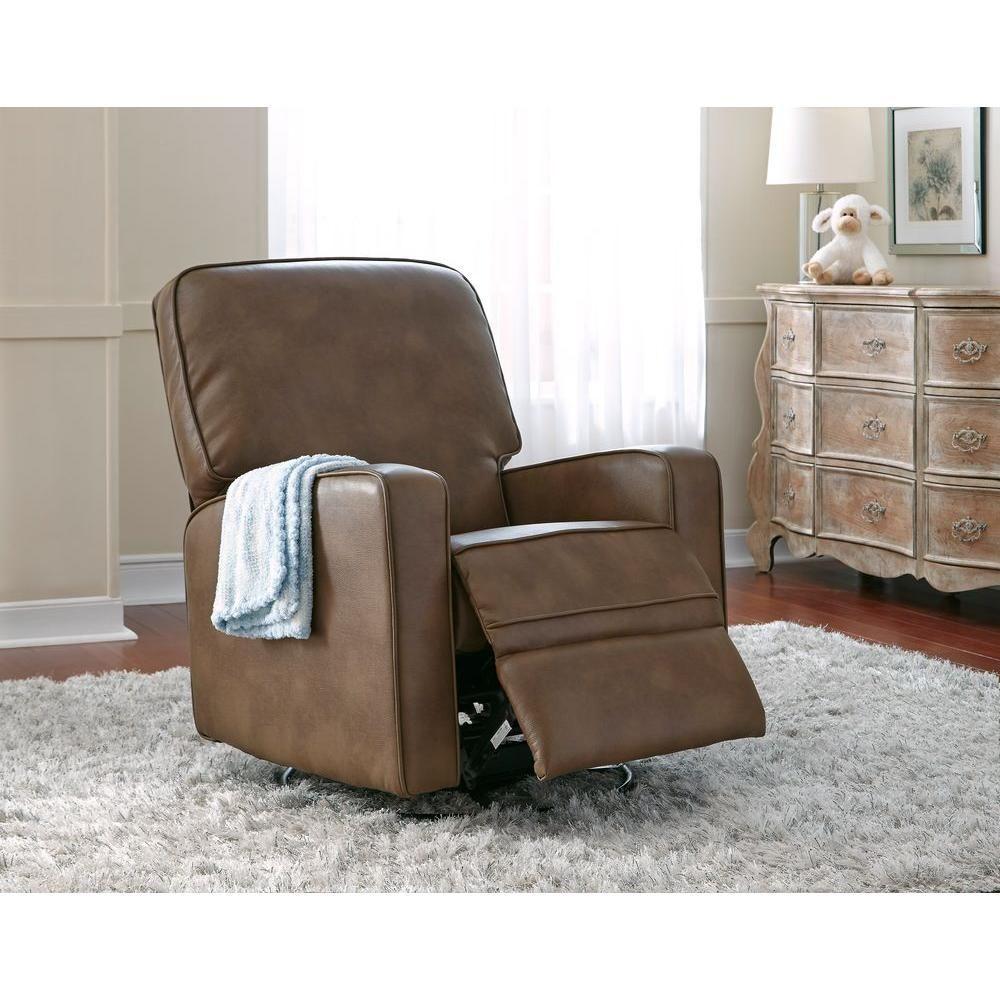 Sutton Chestnut Brown Leather Swivel Recliner – Leather Swivel Glider Chair