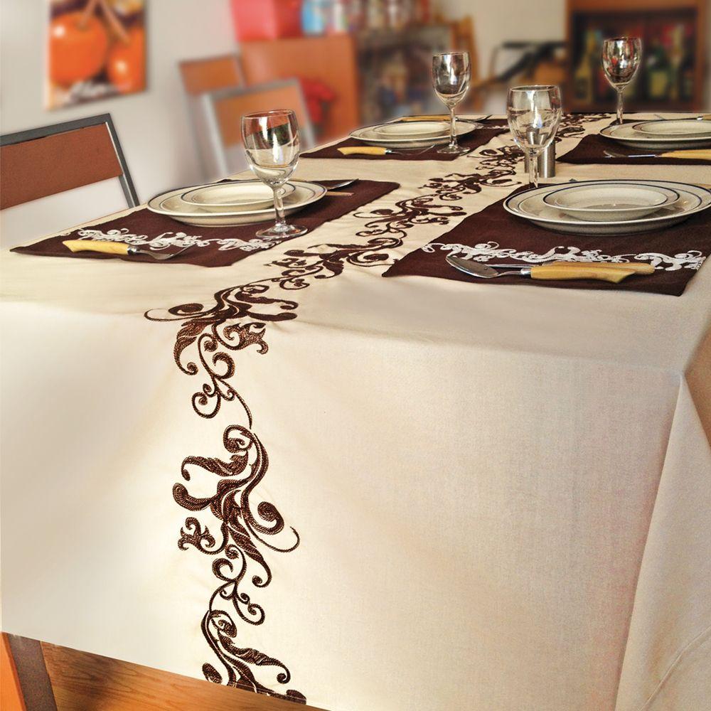 Mantel rectangular bordado realeza beige decoracion sala - Manteles mesa rectangular ...