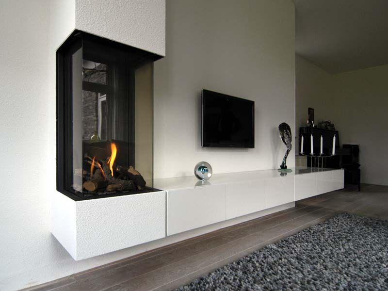Uitzonderlijk Open Haard Met Tv Kast, tv meubel haard laminaat | Open haard in @BL36