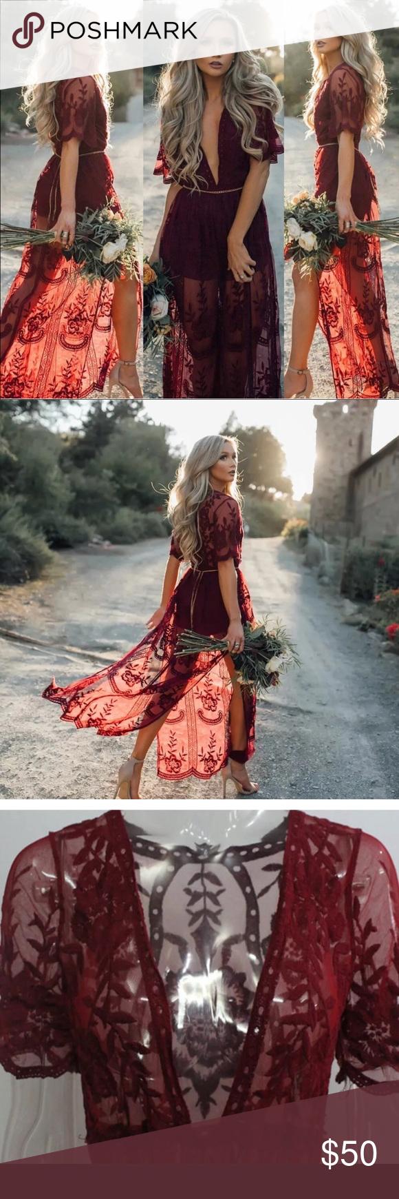 55f4ec5023 Wine Red Chain Lace Flowy Side Slit Maxi Dress Brand New Wine Red Floral  Maxi Dress