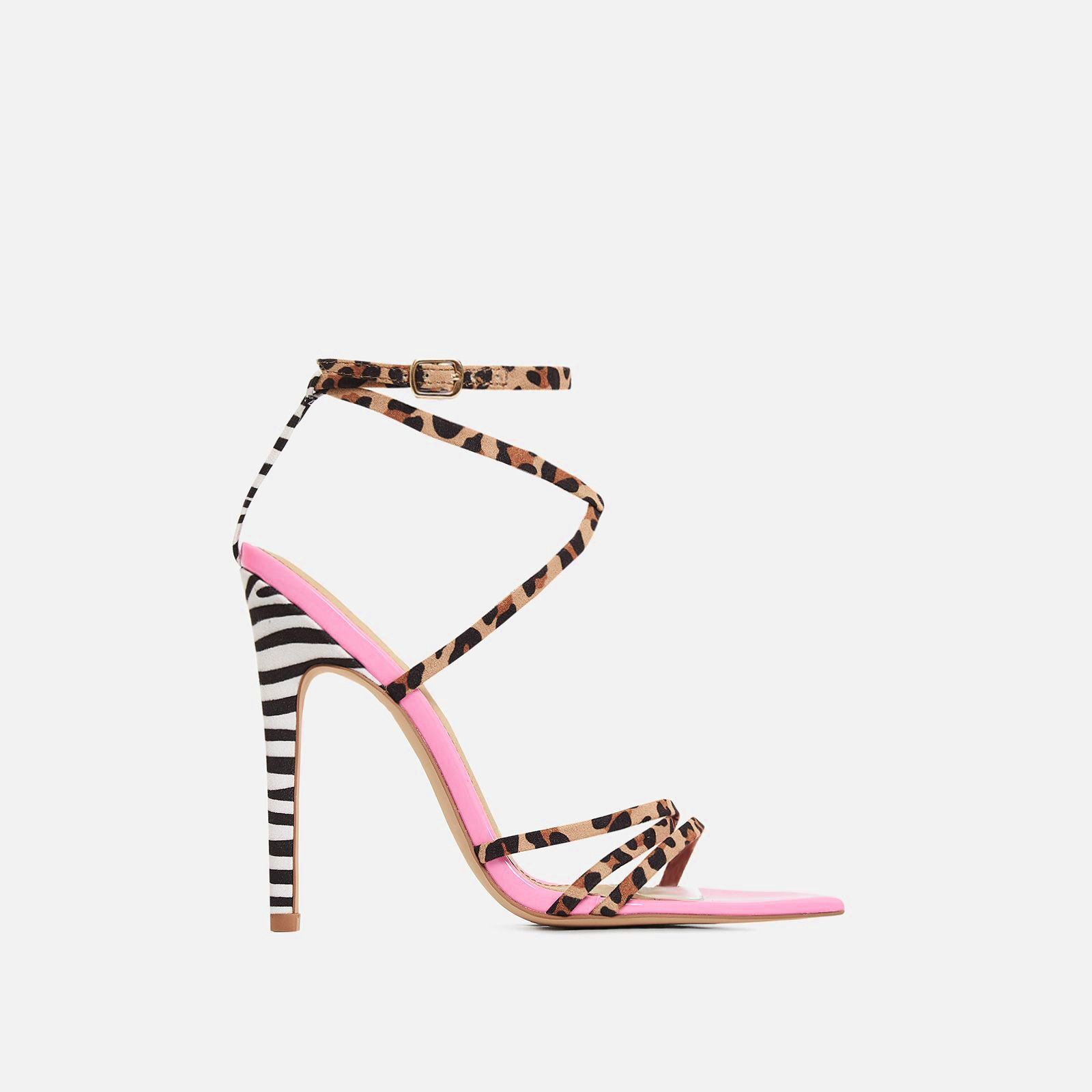 811b62e7c23 Raja Animal Print Pointed Barely There Heel In Pink Patent