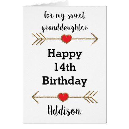 Happy 14th Birthday Card Granddaughter