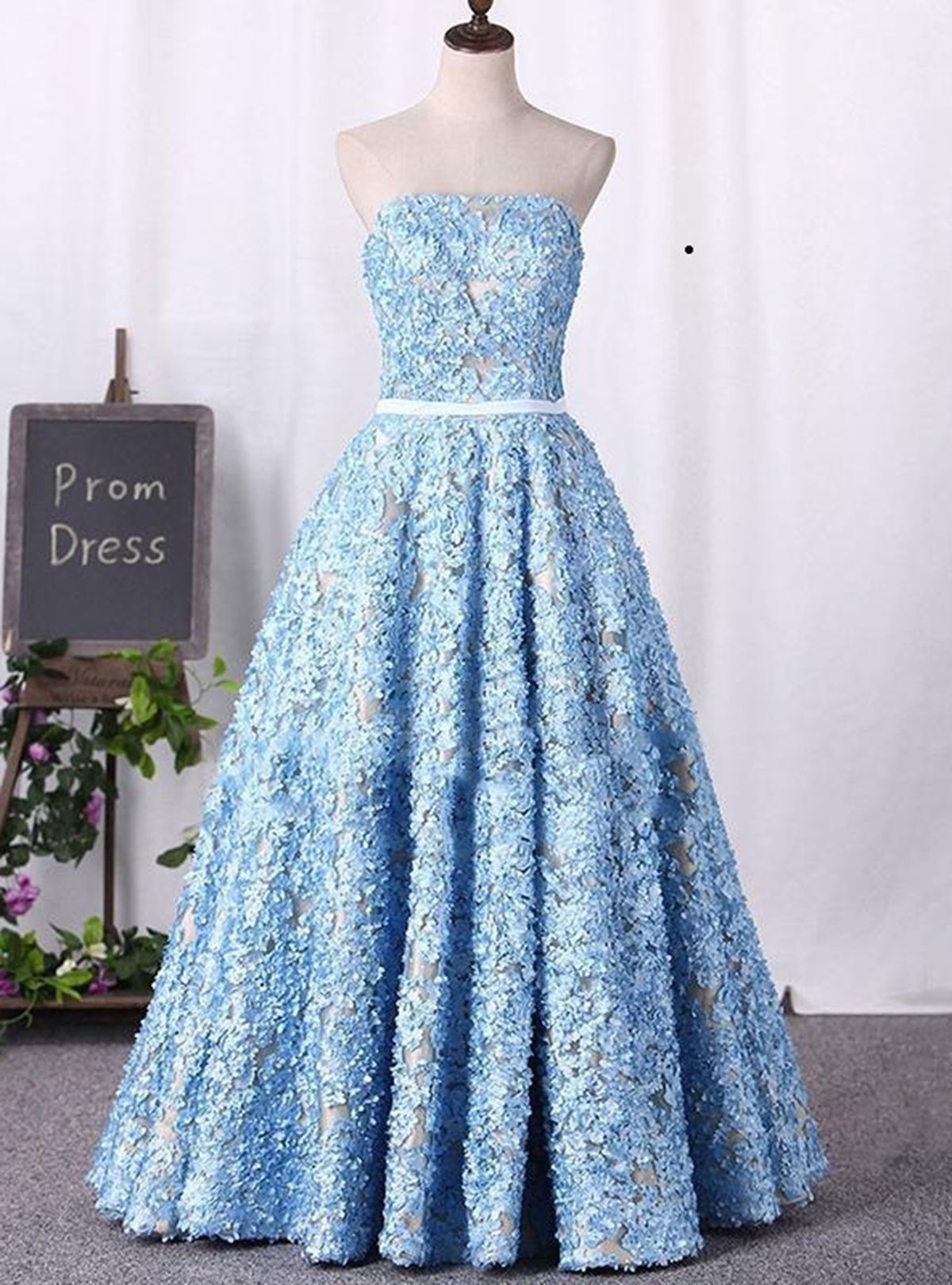Sweetheart neck blue lace long formal prom dress long evening dress