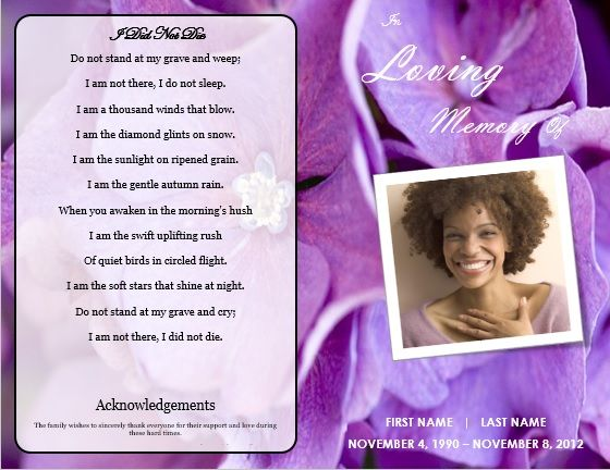 Printable Funeral Bulletins Floral Theme Bi Fold Program Template - free obituary template
