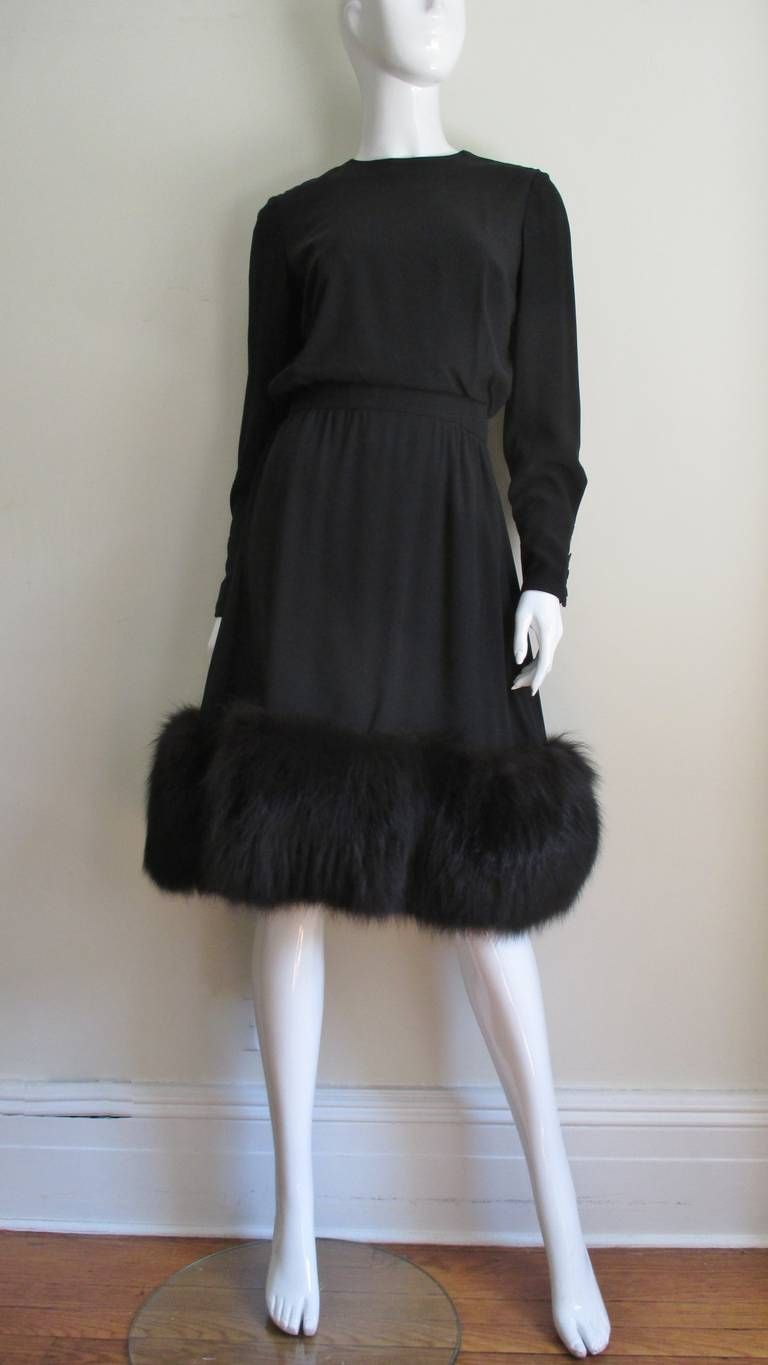 Jean Louis Dress W Fox Fur Skirt vintage