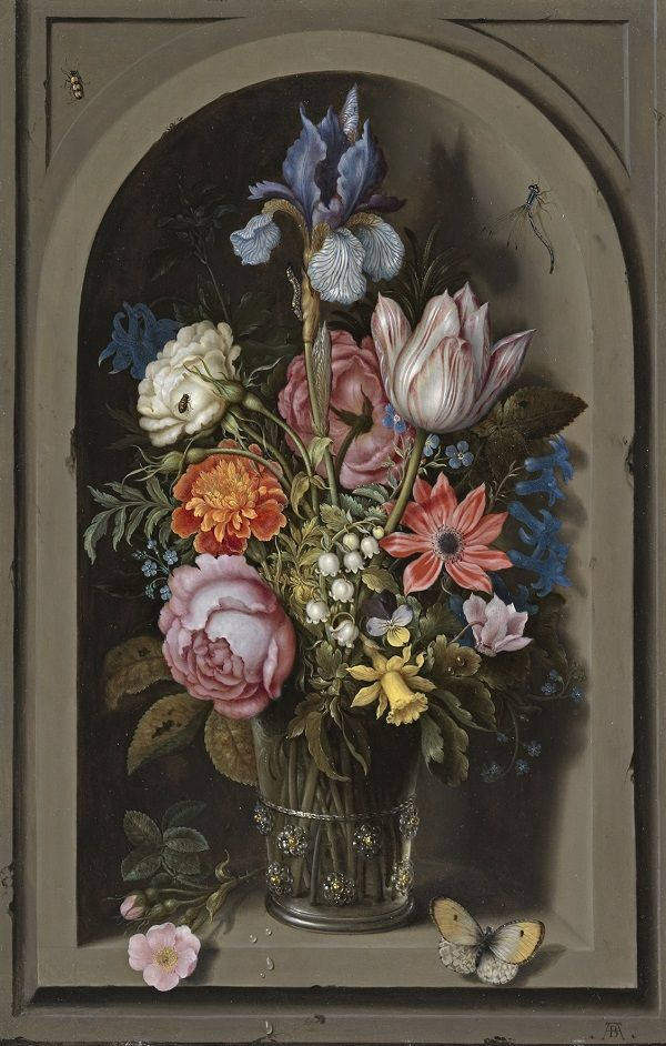 Ambrosius Bosschaert the Elder, Vase with Flowers in a Niche, about on us metalcraft vases, niche flower holders, cemetery vases, floral vases, niche wall art, graveside vases, bud vases,