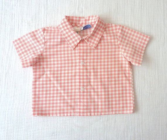 Baby boys red and white shirt 6 to 12 months    LazerBabyVintage, $10.00