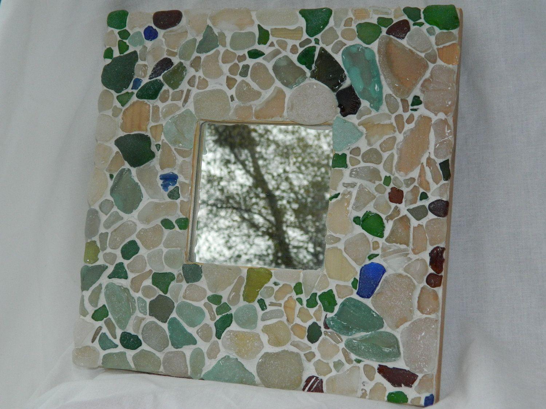 Special,Sea glass, Handmade Mosaic Mirror