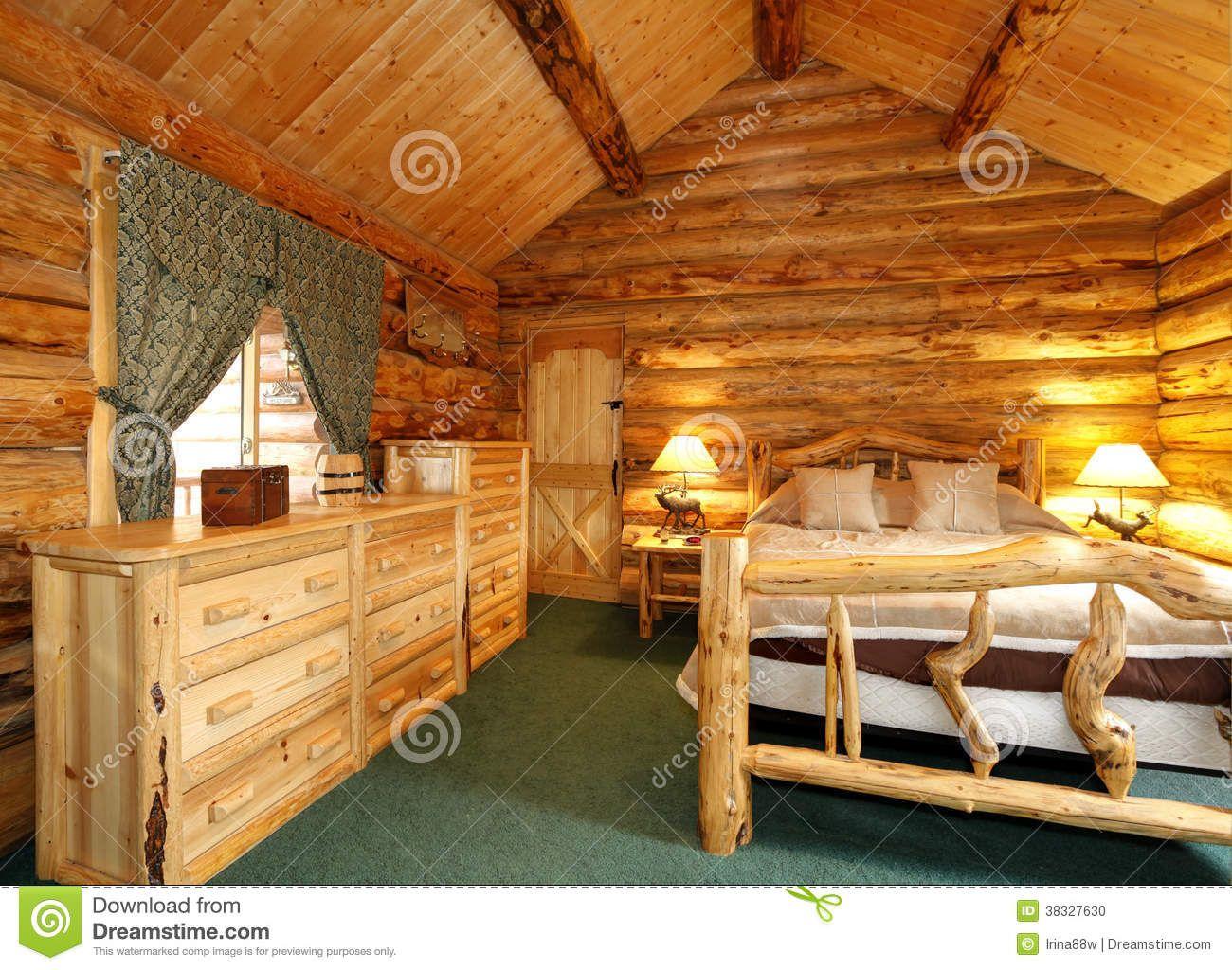 Cozy Bedroom In Log Cabin House Stock Photo Image