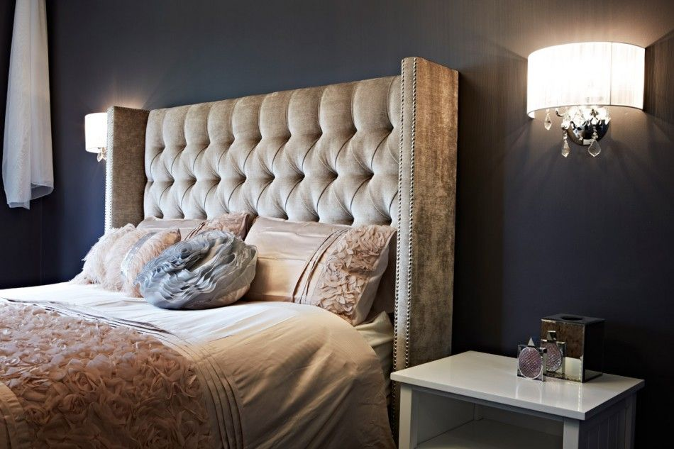 Master Bedroom House Rules warwick fabrics 'dolce' marble on an upholstered bedhead, featured