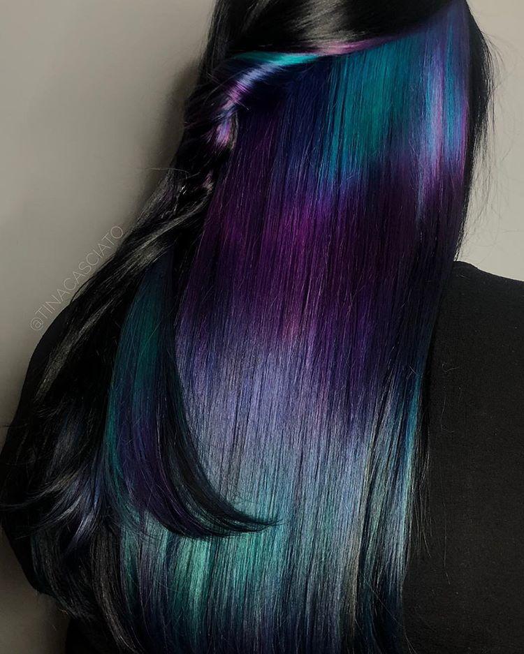 Peekaboo Highlights On Dark Hair Teal Purple Blue Dark Hair