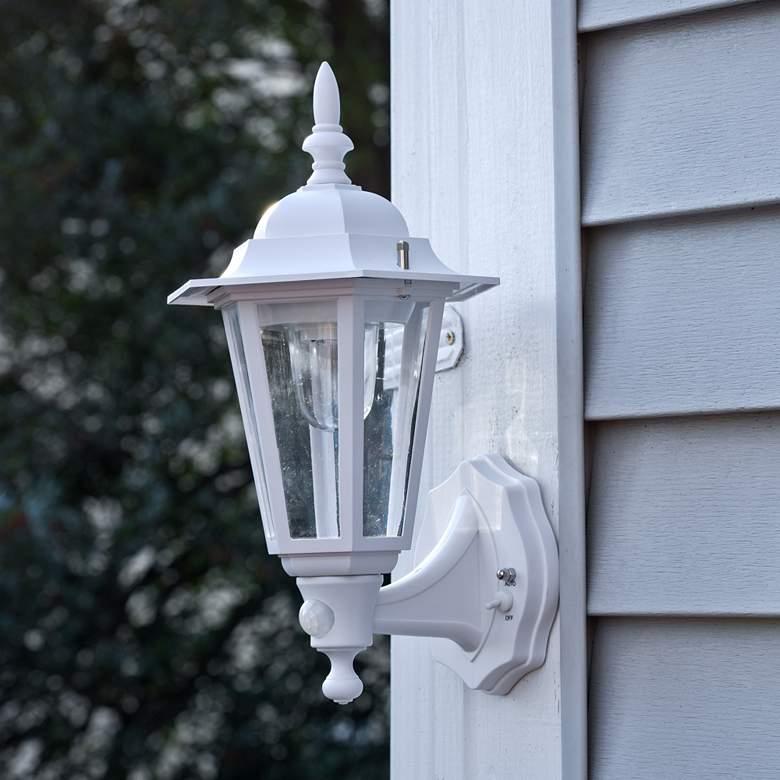 Set Of 2 15 Battery Motion Sensor White Outdoor Wall Lights 64r84 Lamps Plus Outdoor Wall Lights Wall Lights Led Outdoor Wall Lights