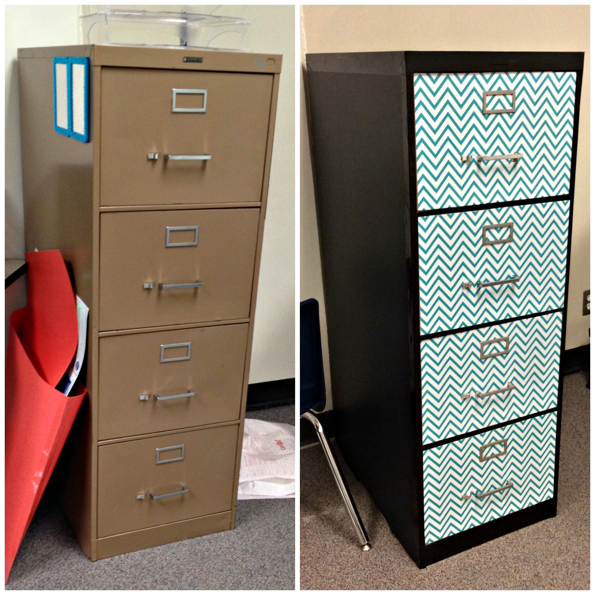 Here Is A Before And After Of My Filing Cabinet I Covered It All With Contact Paper And Used A Little Duct Filing Cabinet Contact Paper File Cabinet Makeover