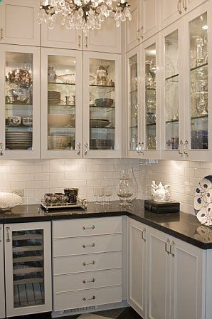 Glass Cabinet Doors With Glass Shelves And Lighting Inside Under Cabinet Lighting As Well And Cupboards W Easy Kitchen Updates Kitchen Design Kitchen Remodel