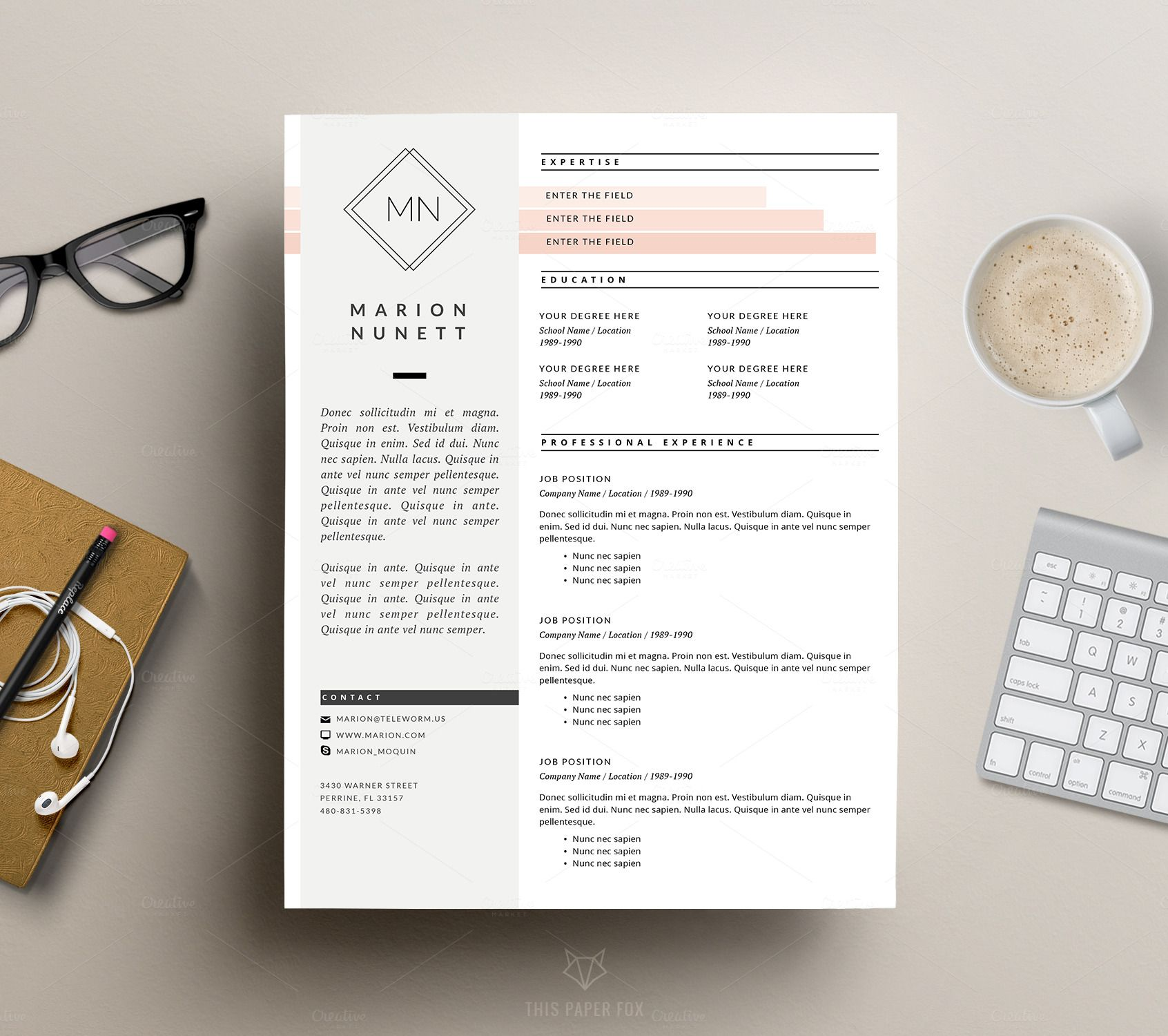 Page Resume Template For Ms Word By This Paper Fox On Creative
