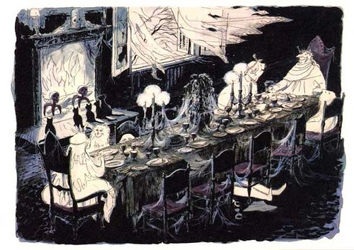 Disney haunted mansion concept art on pinterest for Haunted dining room ideas
