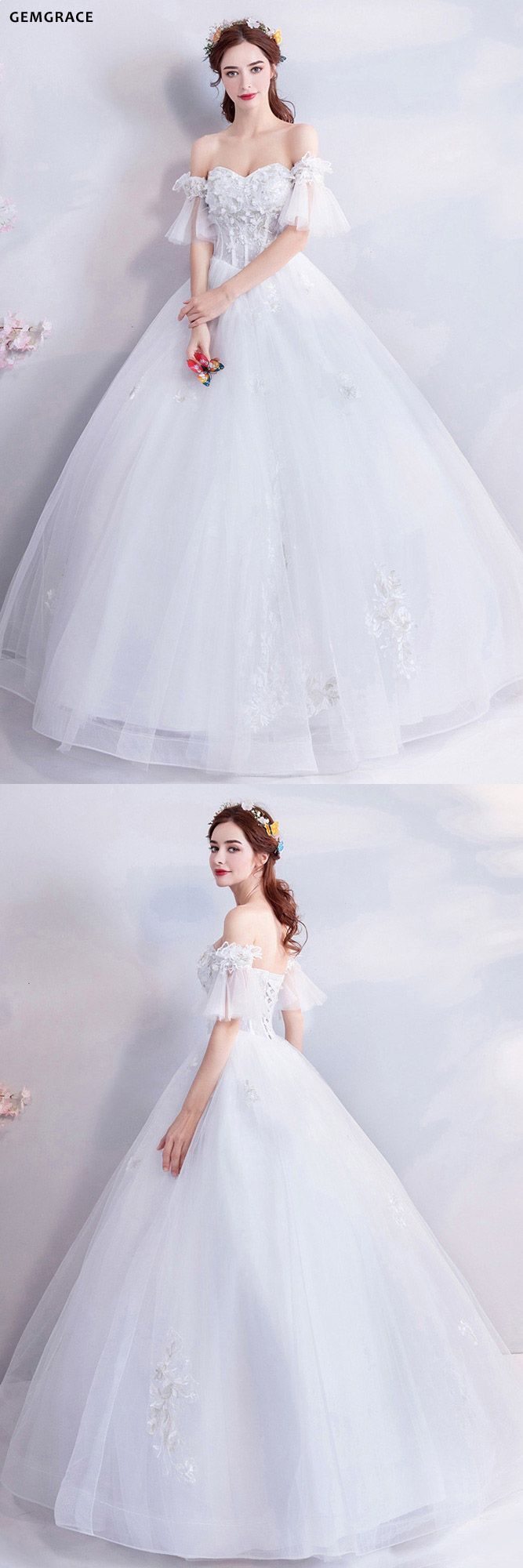 be7569107803e Fairy Butterfly Sleeve Ball Gown Wedding Dress With Off Shoulder #T69142 at  GemGrace. #