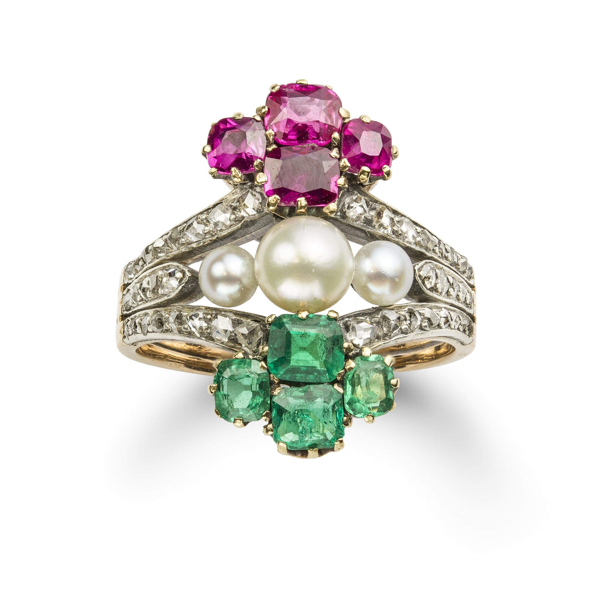 A CENTURY EMERALD, RUBY, DIAMOND AND PEARL RING