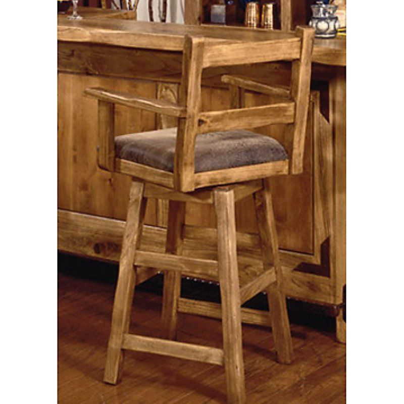 International Furniture 24 Inch Lodge Swivel Counter Stool With Arms